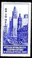 Australia 1950 National Philatelic Exhibition & Centenary perf label in blue inscribed 'On to Melbourne', minor wrinkles but unmounted mint*