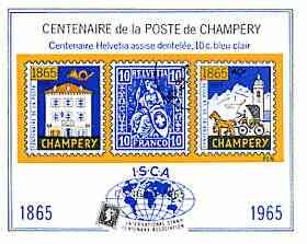Switzerland 1965 Champery Centenary Stamp Exhibition imperf souvenir sheet produced by ISCA, unmounted mint