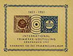 Denmark 1951 Centenary Stamp Exhibition imperf souvenir sheet showing 2 RBS & 4 RBS stamps of 1851, unmounted mint