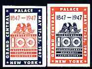 United States 1947 Centenary Stamp Exhibition (Grand Central Palace, NY) set of 2 imperf labels (Blue & red and red & blue) mint with minor wrinkles