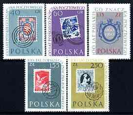 Poland 1960 Stamp Centenary perf set of 5, unmounted mint but sl off-set, SG 1145-49