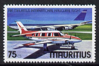 Mauritius 1977 Piper & Boeing 75c with wmk sideways inverted unmounted mint, SG 526Ei*