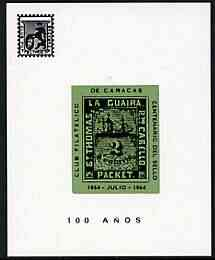 Cinderella - La Guaira (Venezuela) 1964 Stamp Centenary imperf souvenir sheet showing the 2c Robert Todd on ungummed glazed paper, produced by 'Club Filatelico de Caracas'