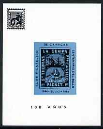 Cinderella - La Guaira (Venezuela) 1964 Stamp Centenary imperf souvenir sheet showing the 4c Robert Todd on ungummed glazed paper, produced by 'Club Filatelico de Caracas', stamps on stamp centenary, stamps on stamp on stamp, stamps on ships, stamps on stamponstamp