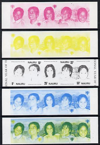 Nauru 1979 Year of the Child se-tenant strip of 5 x 5 imperf progressive proofs comprising the 4 individual colours plus blue & yellow composite, scarce (as SG 211-5) unmounted mint