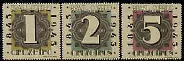 Brazil 1943 Stamp Centenary perf set of 3 (Numerals) unmounted mint, SG 683-85