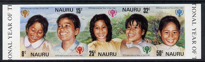 Nauru 1979 Year of the Child unmounted mint imperf se-tenant strip of 5 (as SG 211-5)