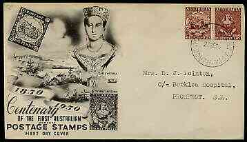 Australia 1950 Stamp Centenary perf se-tenant pair on illustrated cover with first day cancel
