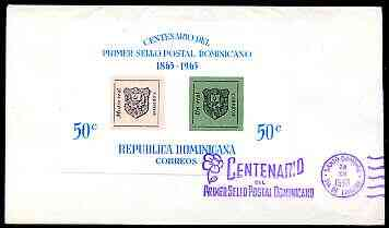Dominican Republic 1965 Stamp Centenary imperf m/sheet on cover with special Centenary first day cancel