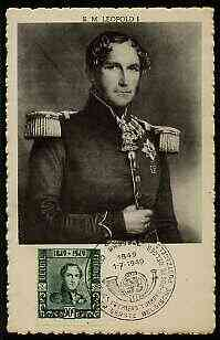 Belgium 1949 Stamp Centenary 90c on black & white picture postcard of King Leopold with special illustrated first day cancel