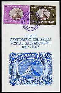 El Salvador 1967 Stamp Centenary perf set of 2 on illustrated card with special first day cancel