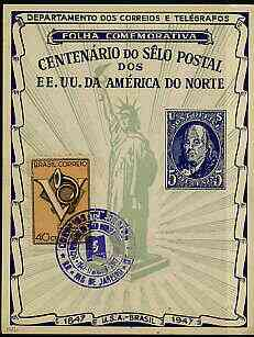 Brazil 1947 North American Postal Centenary commemorative card (Statue of Liberty) bearing 1946 posthorn stamp with special cancel