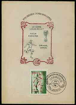 Brazil 1959 Football World Cup Victory on illustrated card (numbered from limited printing) with special first day cancel