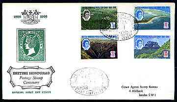 British Honduras 1966 Stamp Centenary perf set of 4 on illustrated cover with first day cancel