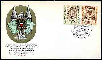 Germany - West 1959 Stamp Exhibition & Stamp Centenary set of 2 on illustrated cover with f1rst day illustrated cancel (22 Aug)