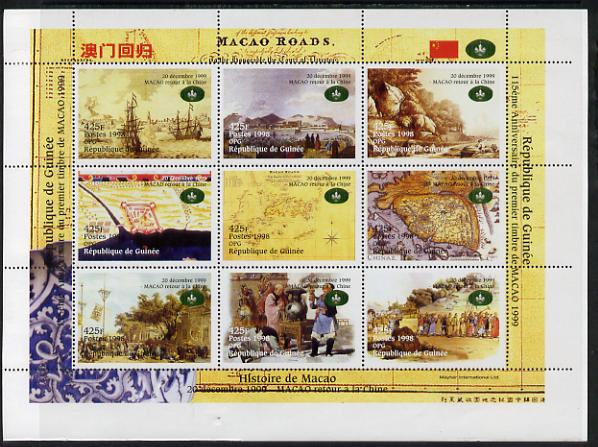 Guinea - Conakry 1998 Macao returns to China #2 perf sheetlet containing 9 values, unmounted mint. Note this item is privately produced and is offered purely on its thematic appeal