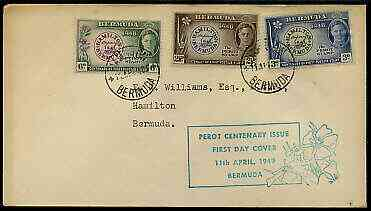 Bermuda 1949 Centenary of Postmaster Perot's Stamp set of 3 on cover with first day cancel and special cachet in green
