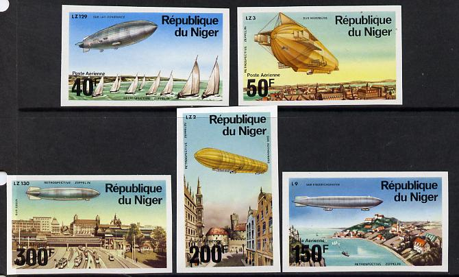 Niger Republic 1976 Zeppelin imperf set of 5 vals unmounted mint, as SG 624-28*