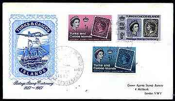 Turks & Caicos Islands 1967 Stamp Centenary perf set of 3 on illustrated cover with special first day cancel