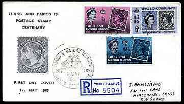 Turks & Caicos Islands 1967 Stamp Centenary perf set of 3 on illustrated registered cover with special first day cancel