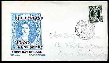 Australia 1960 Queensland Stamp Centenary on illustrated cover with first day cancel