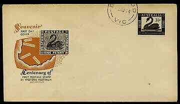 Australia 1954 Western Australia Stamp Centenary on illustrated cover with first day cancel
