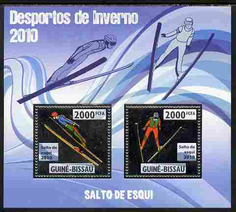 Guinea - Bissau 2010 Winter Olympic Sports - Ski Jumping perf sheetlet containing 2 values in silver unmounted mint