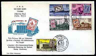 Turkey 1963 Istanbul '63 International Philatelic Exhibition perf set of 5 on illustrated cover with first day cancel