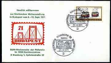 Germany - West Berlin 1971 Commemorative cover for Budapest '71 bearing 10pf electric Tram stamp cancelled with special illustrated cancel