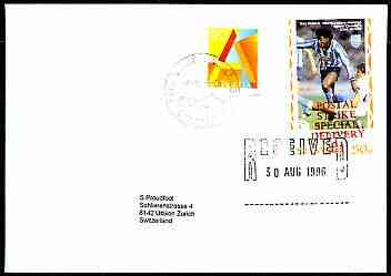 Great Britain 1996 Postal Strike cover to Switzerland bearing St Martin (Great Britain local) opt'd 'Postal Strike Special Delivery \A31' cancelled 30 Aug plus Swiss 90c  adhesive cancelled 6 September