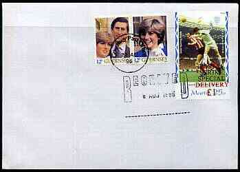 Great Britain 1996 Postal Strike cover to Guernsey bearing St Martin (Great Britain local) opt'd 'Postal Strike Special Delivery \A31' cancelled 6 Aug plus Guernsey 24p adhesive cancelled 27 August