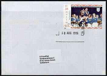 Great Britain 1996 Postal Strike cover to Switzerland bearing St Martin (Great Britain local) opt'd 'Postal Strike Special Delivery \A31' cancelled 30 Aug
