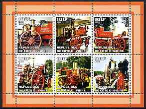Ivory Coast 2002 Old Fire Engines #1 perf sheetlet containing set of 6 values (top left Bridport) unmounted mint