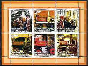 Ivory Coast 2002 Old Fire Engines #2 perf sheetlet containing set of 6 values (lower right Gosforth) unmounted mint