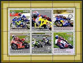 Ivory Coast 2002 Racing Motorcycles #2 perf sheetlet containing set of 6 values (top middle No. 6) each with Rotary logo, unmounted mint