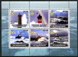 Mauritania 2002 Lighthouses #2 perf sheetlet containing set of 6 values (green background) each with Rotary logo, unmounted mint