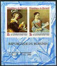 Burundi 1968 Letter Writing Week (Paintings) imperf m/sheet containing 2 values unmounted mint, Mi BL 28B