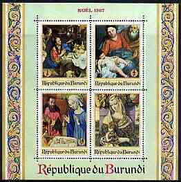 Burundi 1967 Christmas (Paintings) perf m/sheet containing 4 values unmounted mint, SG MS 337, Mi BL 24A