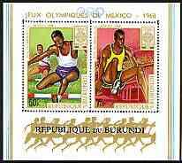 Burundi 1968 Mexico Olympic Games perf m/sheet unmounted mint, SG MS 406, Mi BL 29A
