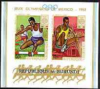 Burundi 1968 Mexico Olympic Games imperf m/sheet unmounted mint, SG MS 406, Mi BL 29B