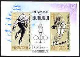 Burundi 1964 Innsbruck Winter Olympic Games imperf m/sheet unmounted mint, SG MS 76a, Mi BL 3B