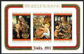 Burundi 1971 25th Anniversary of UNICEF opt on Christmas Paintings imperf m/sheet unmounted mint SG MS 715b, Mi BL 54B