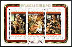 Burundi 1971 25th Anniversary of UNICEF opt on Christmas Paintings perf m/sheet unmounted mint SG MS 715b, Mi BL 54A