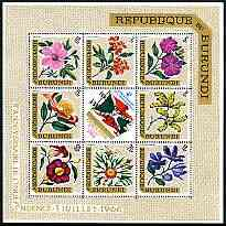 Burundi 1967 Fourth Anniversary of Independence (Flowers) perf sheetlet containing 8 diamond shaped values plus label unmounted mint SG MS 220, stamps on flowers
