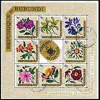 Burundi 1967 Fourth Anniversary of Independence (Flowers) perf sheetlet containing 8 diamond shaped values plus label cto used SG MS 220