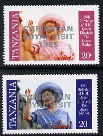 Tanzania 1985 Life & Times of HM Queen Mother 20s (as SG 426) perf proof with 'Caribbean Royal Visit 1985' opt in silver with blue omitted (plus unissued normal)