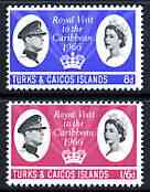 Turks & Caicos Islands 1966 Royal Visit perf set of 2 unmounted mint, SG 266-67