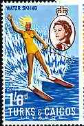 Turks & Caicos Islands 1967 Water Skiing 1s6d from def set unmounted mint, SG 282