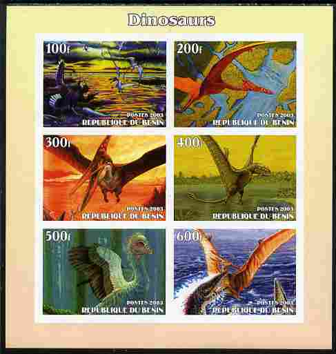Benin 2003 Dinosaurs #11 imperf sheetlet containing 6 values unmounted mint. Note this item is privately produced and is offered purely on its thematic appeal