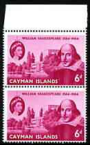 Cayman Islands 1964 400th Birth Anniversary of Shakespeare 6d vert pair, one stamp with 'scratch at right' (R2/3) unmounted mint, SG 183var